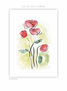 Bright red poppies art print. Ink and watercolor sketch on paper. Floral painting. Art for gallery wall. Poppy drawing. Poppies Art, Red Poppies, Poppy Drawing, My Flower, Flowers, Watercolor Sketch, Painting Art, Gallery Wall, Sketches