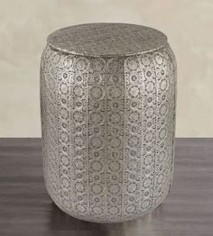 New Moroccan Zena Style Pierced Metal Garden Stool Nickel Side Table Boho Chic, Indoor Outdoor Patio, Ottoman, Accent Table, Horchow, Neiman Marcus, Architectural Digest, Traditional Home, Elle Decor, Moorish Table