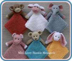 """This Mini Lovey Blankie Menagerie, with their darling little faces, will capture the hearts of little ones. There are 6 animals to choose from: bear, monkey, lamb, elephant, bunny, and of course, piggy in a blanket. A choice of 2 blanket easy stitch patterns, with each blanket only 12"""" square, makes them easy grab 'n' go loveys that can fit just about anywhere."""