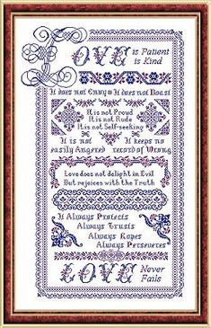 Papillon Creations Love With a Capital L - Cross Stitch Pattern. A stunning sampler that would make a fabulous wedding gift - Love is Patient, Love is Kind. It