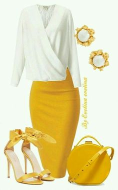 Too bad there aren't more yellow clothes on the market. I… – Outfits for Work I like the yellow. Too bad there aren't more yellow clothes on the market. Classy Casual, Classy Dress, Classy Outfits, Stylish Outfits, Sporty Outfits, Modest Dresses, Casual Dresses, Fashion Dresses, Modest Wear