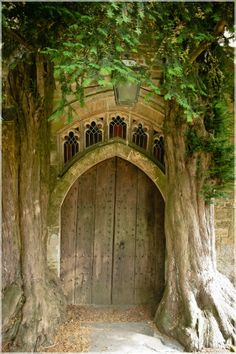 Back door of St. Edward's Church, Stow-on-the-Wold, England - said to be the inspiration for the Moria door in J.R.R. Tolkien's Lord of the Rings. He was known to have passed through this area prior to writing the book