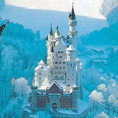 Neuschwanstein Castle, Bavaria, Germany (a.a the castle that inspired the 'Sleeping Beauty' novel). White Witch's castle anyone? Put this on the European castle tour! What an amazing shot! Places Around The World, The Places Youll Go, Places To See, Beautiful Castles, Beautiful Places, Amazing Places, Simply Beautiful, Dream Vacations, Vacation Spots