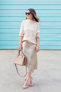Styling a Metallic Satin Midi Skirt // Shopbop Fall Sale - Style Charade Cute Fall Fashion, Fall Fashion Outfits, Fall Fashion Trends, Autumn Fashion, Womens Fashion, Business Casual Outfits, Dressy Outfits, Office Outfits, Satin Midi Skirt