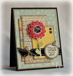layered scraps bordered with kraft; cross stitch x's; circle sentiment; ribbon with twine; stitched perimeters