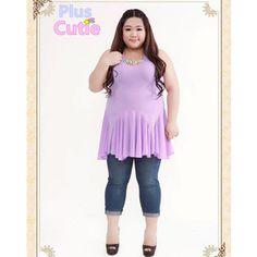 Plus Size J-fashion Sweet Flouncing Chiffon Purple Sleeveless Dress Free Shipping SP140818