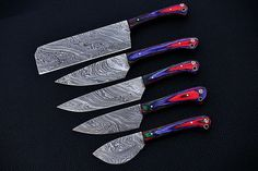|NB KNIVES| CUSTOM HANDMADE DAMASCUS 5 PCS CHEF SET WITH LEATHER ROLL – NB Knives Damascus Sword, Damascus Ring, Damascus Steel Chef Knife, Damascus Chef Knives, Dagger Knife, Leather Roll, Folding Knives, Kitchen Knives, Rolls