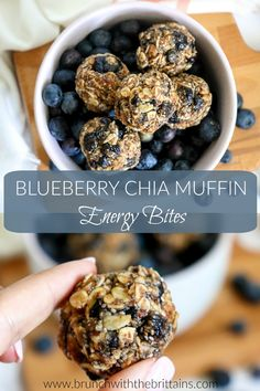 These Blueberry Chia Muffin Energy Bites taste just like blueberry muffins! - These Blueberry Chia Muffin Energy Bites taste just like blueberry muffins! They are a quick and ea - Protein Snacks, Protein Energy Bites, Oatmeal Energy Bites, Peanut Butter Energy Bites, No Bake Energy Bites, Energy Snacks, Healthy Protein Balls, Energy Bars, High Protein