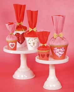 Valentine Treat Cups-  Create beautiful candy cups with nothing more than plastic cups, crepe paper, and gold trim.