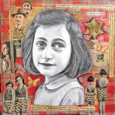 My Anne Frank Art- pencil drawing over mixed media collage. In memory of millions! #annefrank #portrait #art