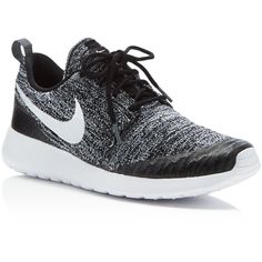 Nike Women's Roshe One Flyknit Sneakers ($120) ❤ liked on Polyvore featuring shoes, sneakers, athletic shoes, black, flyknit shoes, nike sneakers, nike footwear, kohl shoes and flyknit trainer
