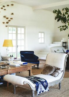 ECLECchic: navy blue, a hint of yellow and rustic woods: the inspiration for my living room.  #30DaysofInspiration
