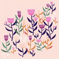 Folk flower - flower illustration by Laurence Lavallée aka Flo