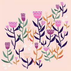 Folk flower - flower illustration by Laurence Lavallée aka Flo Pattern Art, Folk, My Arts, Illustration, Artist, Cute, Flowers, Popular, Artists