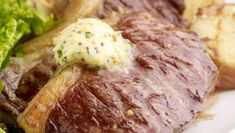 Sirloin Steak with Mustard Butter & Barbecue Potatoes. The perfect steak supper for an evening gathering. Perfect Steak, Sirloin Steaks, Sliced Potatoes, Steak Recipes, Barbecue, Mustard, Pork, Butter, Cooking