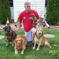 Doggy Day Care with my hubby, Jim. Left to right...Fred, Samantha, Wilma, & Kita