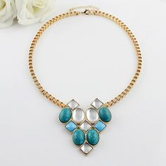 Fresh Style Various Colored Faux Gemstone Embellished Pendant Necklace via LAU ACCESSOIRES. Click on the image to see more!