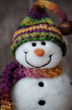 Snowman Solid wool needle felted Snowmen 496 by BearCreekDesign