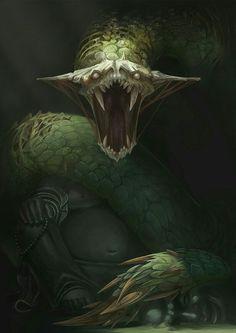 Green snake, basiliskus, anaconda, python epic concept art creature design inspiration ideas, jungle snake beast