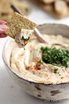 Low Carb Artichoke Hummus tastes remarkably like the real thing but is made with cauliflower & artichokes!Serve as a low carb snack or appetizer with veggies or low carb crackers. This recipe is gluten-free, dairy-free, paleo, keto, and THM compliant. Ketogenic Recipes, Low Carb Recipes, Cooking Recipes, Healthy Recipes, Ketogenic Diet, Bariatric Recipes, Diabetic Recipes, Easy Recipes, Low Carb Hummus