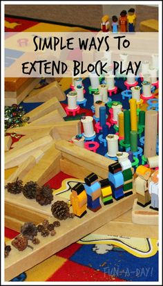 Chapter Great ways to extent block play and ad things to it. Simple ideas for extending block play at home and school Block Center Preschool, Preschool Centers, Classroom Activities, Preschool Activities, Steam Activities, Preschool Classroom, Preschool Learning, Winter Activities, Family Activities