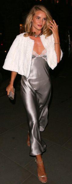 Rosie Huntington-Whiteley Style   Slip Dress