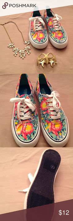 Awesome tropical pattern walking shoes Like new.   Adorable pattern. Mossimo Supply Co. Shoes Sneakers