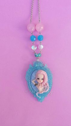 Necklace girl tatoo in fimo polymer clay by Artmary2 on Etsy