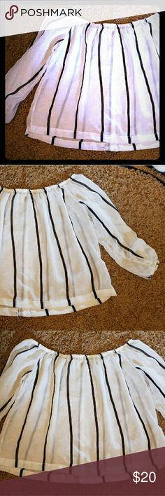 ~Long sleeve shear crop top~ Size:XL, see through top, white and black stripes, in good condition, will fit large and medium also Tops Crop Tops
