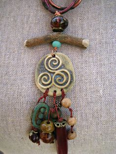 Moobie Grace  Ceramic Necklace  Tribal  by MoobieGraceDesigns, $35.00
