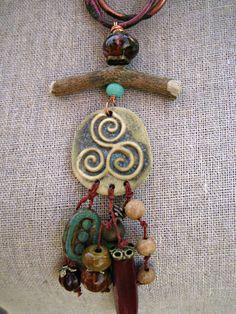 Moobie Grace  Ceramic Necklace  Tribal  by MoobieGraceDesigns, $35.00