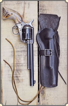 """Nice stag grips on this Colt SAA 7-1/2"""" Revolver with a Vintage Bianchi 1898 Holster similar to the unlined A1 Quickdraw holster at www.circlekb.com"""