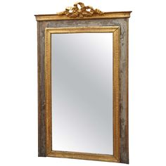 Classical Grey Painted and Parcel-Gilt Mirror | See more antique and modern Mantel Mirrors and Fireplace Mirrors at http://www.1stdibs.com/furniture/mirrors/mantel-mirrors-fireplace-mirrors