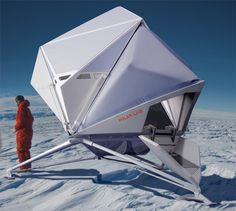 'Polar lab' is a temporary Antarctic habitat and research station deployable by helicopter or standard transportation sledges. The basic idea was to design an independently functioning capsule that could be delivered in one drop, and was capable of housing three people for a period of up to three weeks without need for further supplies