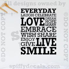 Everyday Laugh Love Celebrate Smile Dream Quote Vinyl Wall Decal Decor Sticker | eBay