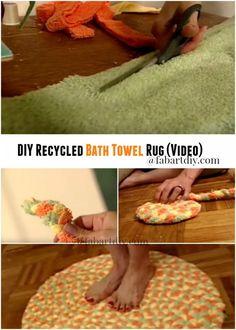 DIY Recycled Bath Towel Rug Tutorial - Video We have see crochet rugs, braid ru. DIY Recycled Bath Towel Rug Tutorial – Video We have see crochet rugs, braid rugs using recycled Hobbies And Crafts, Fun Crafts, Diy And Crafts, Old Towels, Bath Towels, Towel Rug, Recycled Crafts, Recycled Rugs, Recycled Shirts