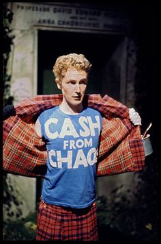 Whenever I think about punk tartan I always think Malcolm McLaren. Here he is wearing a Cash For Chaos Punk shirt