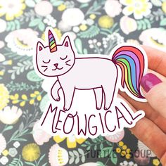 This kitty is meowgical Printed on coated water resistant vinyl. Easy to peel on / off most surfaces. • Includes one (1) sticker • Sticker is roughly 3 x 3 • Easy peel off • Thick, durable vinyl with a UV laminate. • Scratch, weatherproof, and waterproof. • Each sticker is protected with a sleeve for safe keeping. • Sticker ships free if ordered with another item. These vinyl stickers are resistant to fading, scratching, tearing, and water. For those of you who like to sticker stickers...
