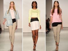 Review: Tibi Spring 2013 collectionSpring brings the welcomed inclusion of denim in the form of cropped jackets, trousers, and vests — to go with plenty of midriff-baring tops, cropped pants, and flirty accordion skirts. #fashion #NYFW