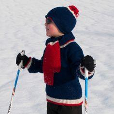 Heia-genser i rødt, hvitt og blått! Design: Randi Ballangrud Foto: Lene Høibak Johansen www.cria.no