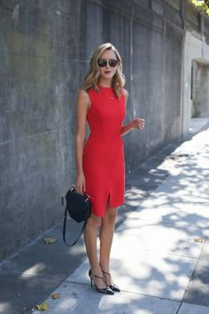 red wrap front midi dress black pointed toe heels black shoulder bag black sq red wrap front midi dress black pointed toe heels black shoulder bag black square sunglasses curled hairstyle topshop sjp collection smoke x mirrors thetroveapp Nyc Fashion, Office Fashion, Work Fashion, Mode Chic, Mode Style, Business Outfits, Office Outfits, Topshop, Dress Up