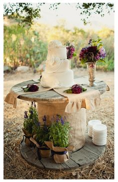 Rustic Wedding Cake Table...i might need to do purple for my fall colors