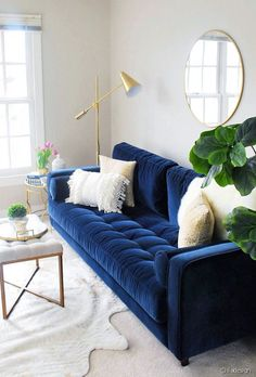 Sven Cascadia Blue Sofa Our new home has a large open area at the top of the stairs which will be an upstairs hangout for our kids, so the bright blue has the perfect fun vibe for that space. Photo by Eleven Magnolia Lane. Blue Couch Living Room, Blue And Gold Living Room, Bedroom With Sofa, Living Rooms, Living Spaces, Living Room Inspiration, Blue Sofa Inspiration, Interior Inspiration, Living Room Designs