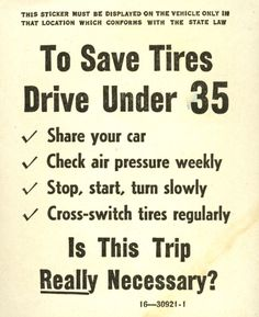 On December 11, 1941, the US prohibited the sale of spare tires for new cars, to aid in the war effort.