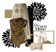 """""""Olive & Oatmeal"""" by lily0906 ❤ liked on Polyvore featuring CÉLINE, Valentino, Annoushka, Donna Karan and Jessica McClintock"""