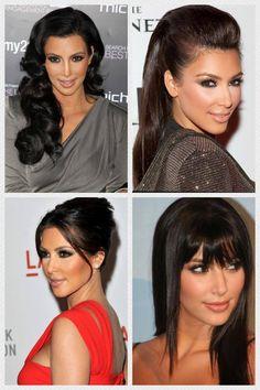 kim kardashian hair styles she looks great with bangs! Love Hair, My Hair, Hairstyles Haircuts, Cool Hairstyles, Kim Kardashian Hair, Haircut Designs, Natural Hair Styles, Long Hair Styles, Dream Hair
