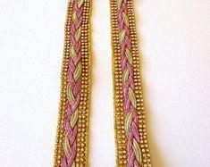 Pink jacquard ribbon | Etsy NO Ribbon, Pink, Gifts, Etsy, Vintage, Tape, Treadmills, Presents, Ribbon Hair Bows