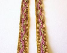 Pink jacquard ribbon | Etsy NO Friendship Bracelets, Ribbon, Pink, Handmade, Etsy, Jewelry, Fashion, Tape, Moda