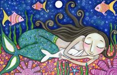 Mermaid Art Print dolphin 8 x 11 art for kids nursery childrens Wall Decor whimsical Folk painting inspirational picture Mermaid Wall Decor Mandala Art, Dolphin Painting, Karla Gerard, Art Fantaisiste, Mermaid Wall Decor, Mermaid Artwork, Mermaid Pictures, Mermaid Images, Childrens Wall Art