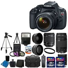 Canon EOS Rebel T5 18MP EF-S Digital SLR Camera USA warranty with canon EF-S 18-55mm f/3.5-5.6 IS [Image Stabilizer] II Zoom Lens & EF 75-300mm f/4-5.6 III Telephoto Zoom Lens + 58mm 2x Professional Lens +High Definition 58mm Wide Angle Lens + Auto Power Flash + UV Filter Kit with 24GB Complete Deluxe Accessory Bundle http://minivideocam.com/product-category/stabilizers/